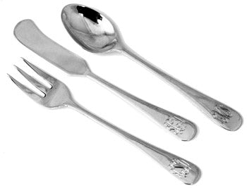 Sterling Silver Engravable  Keepsake Baby Spoon, Fork & Knife Set - Atlanta Jewelers Supply