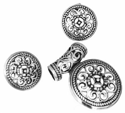 Sterling Silver Round Filigree Flower Designed Pendant & Earing Set - atlanta-jewelers-supply