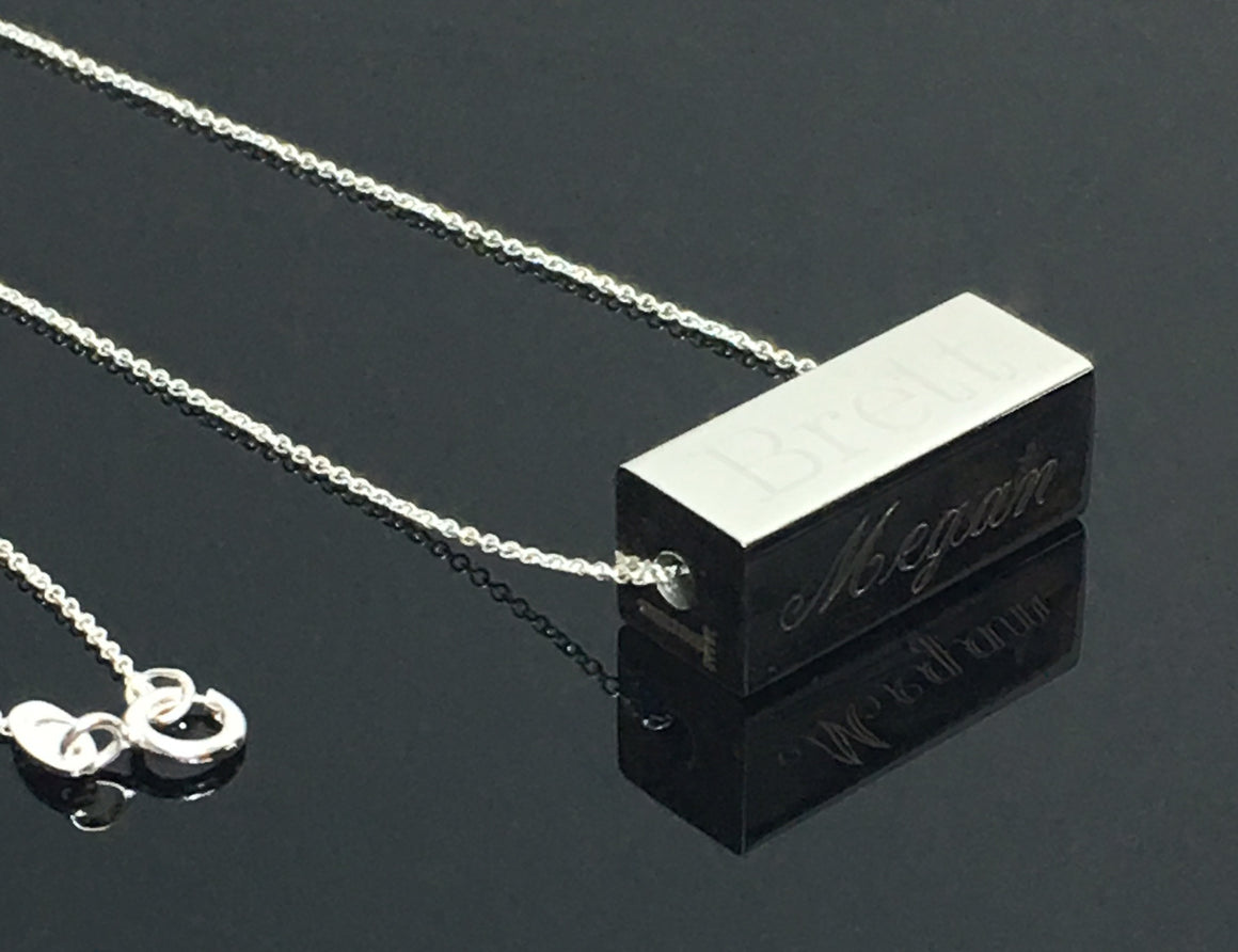 Stainless Steel  Horizontal 4 sided Engraveable Bar Necklaces Available in 3 colors atlanta-jewelers-supply.myshopify.com