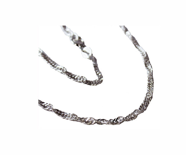 Sterling Silver 1.25MM Twisted Diamond Cut Singapore Chain (025 GUAGE) - Atlanta Jewelers Supply