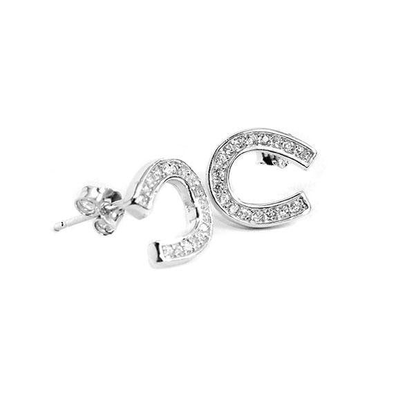 Sterling Silver Earrings With Clear Cz Stones Shaped As A Horseshoe. 0.46'' - Atlanta Jewelers Supply