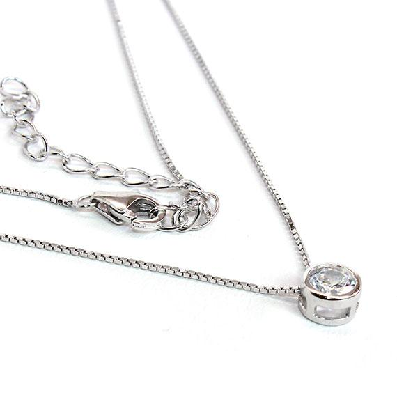 Sterling Silver Necklace With A With Oneczstone Measuring 0.2 (5 Mm) With A 16 Chain Included With A 2 Extension - atlanta-jewelers-supply