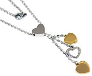 Stainless Steel Necklace With Dangling Hearts In Stainless Steel And Gold Plated Stainless Steel atlanta-jewelers-supply.myshopify.com