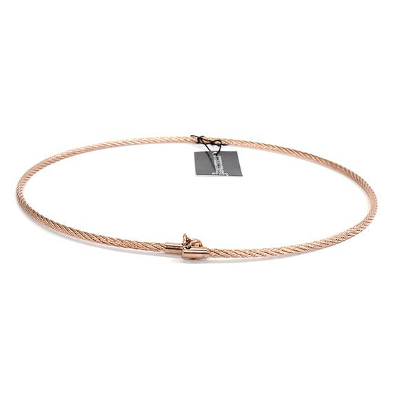 Stylish Non Silver Rose Gold 3Mm 17 Omega Necklace With A Rope Design - Atlanta Jewelers Supply