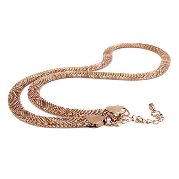 Stylish Stainless Steel Mesh Rose Gold Necklace - atlanta-jewelers-supply