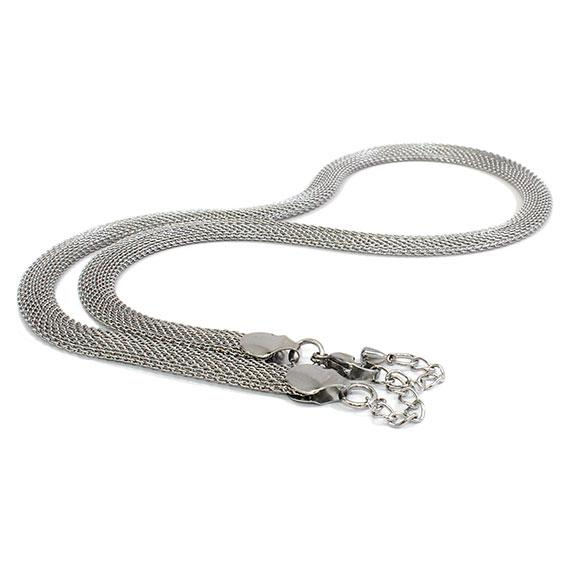 Stylish Stainless Steel Mesh Silver Necklace - atlanta-jewelers-supply