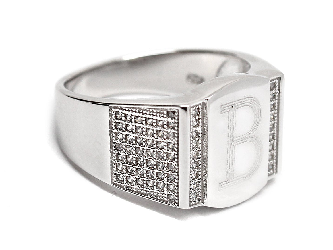 Sterling Silver Rectantangle Engravable Men's Ring - Atlanta Jewelers Supply