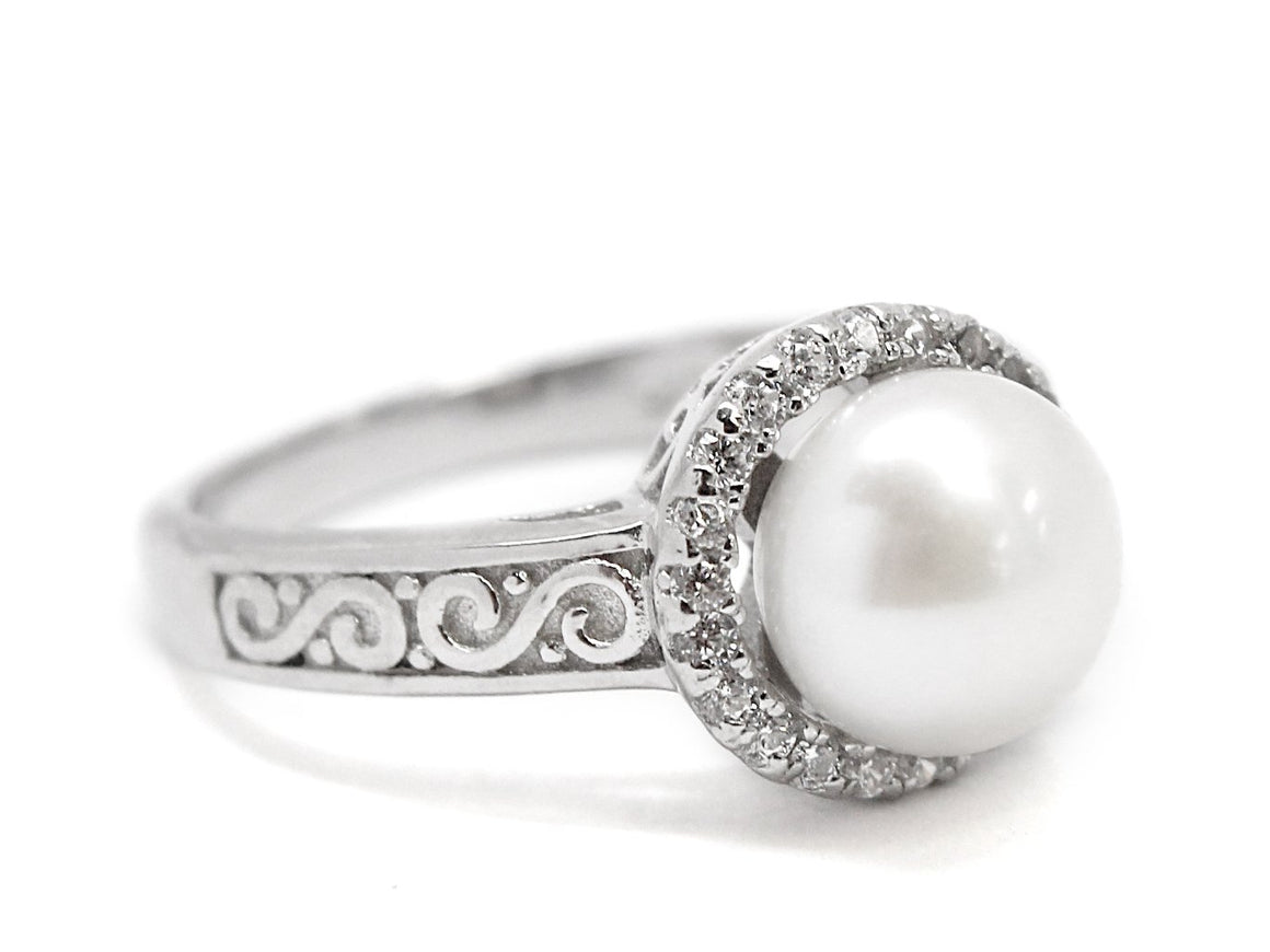 Sterling Silver Cz Stone Border Pearl Ring - Atlanta Jewelers Supply