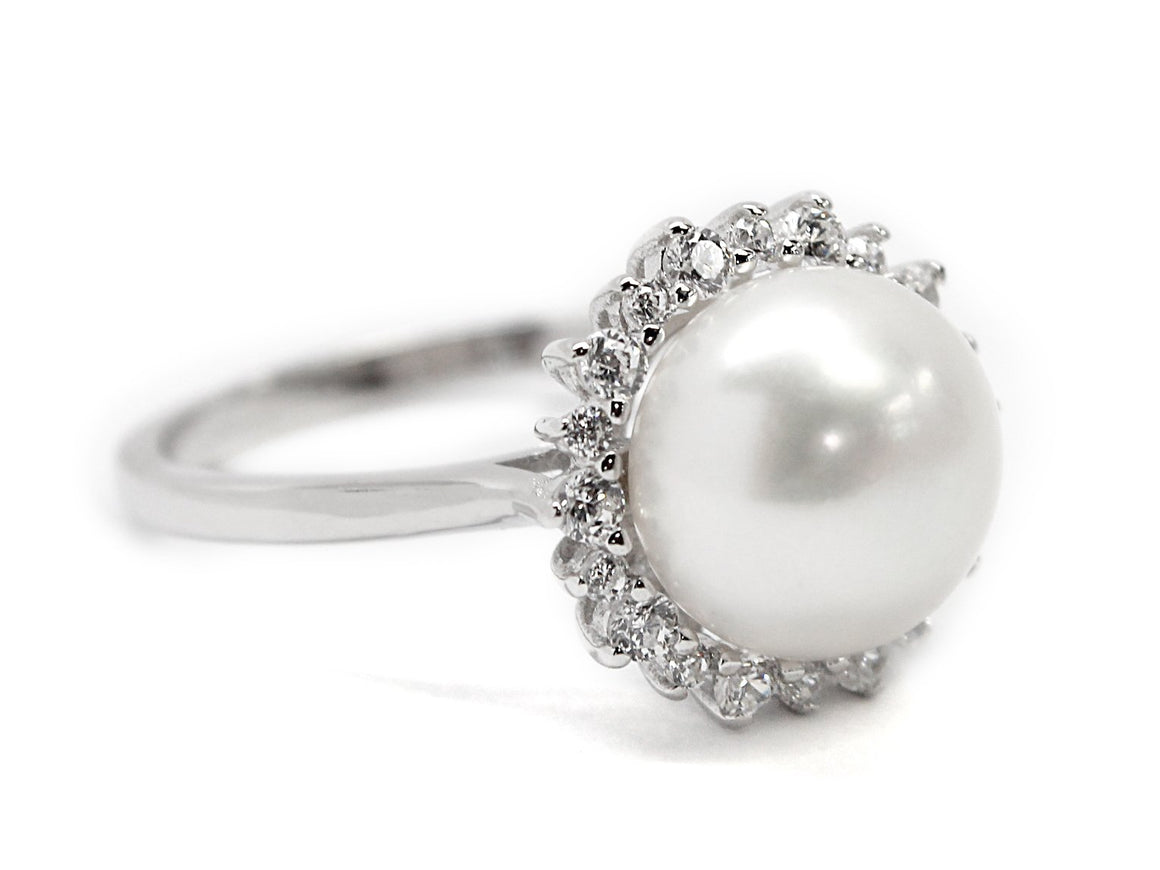 Sterling Silver Pearl Ring With CZs Around Pearl - atlanta-jewelers-supply