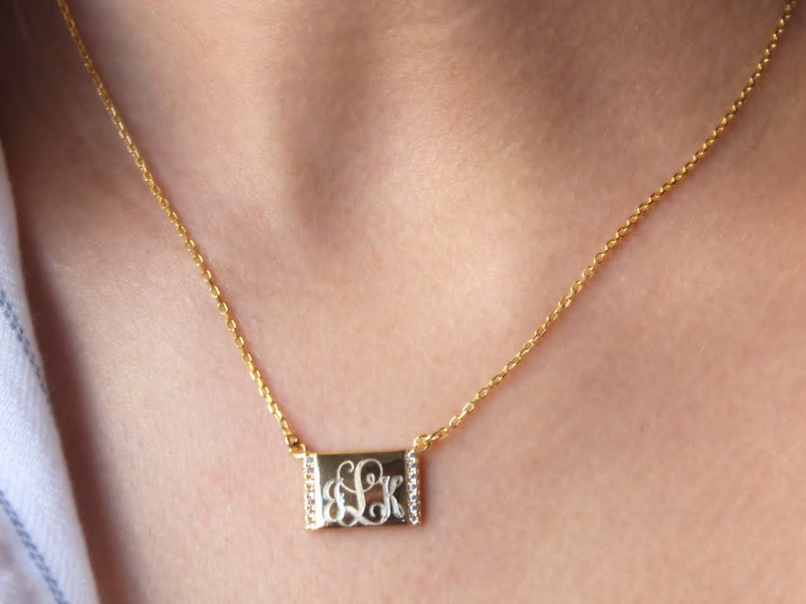 Sterling Silver Engravable Rectangular Face Necklace with Two Sides CZ - Atlanta Jewelers Supply