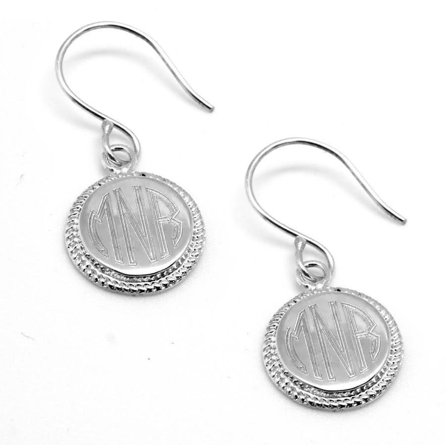 Engravable German Silver Circle Earrings With Rope Design Border - Atlanta Jewelers Supply