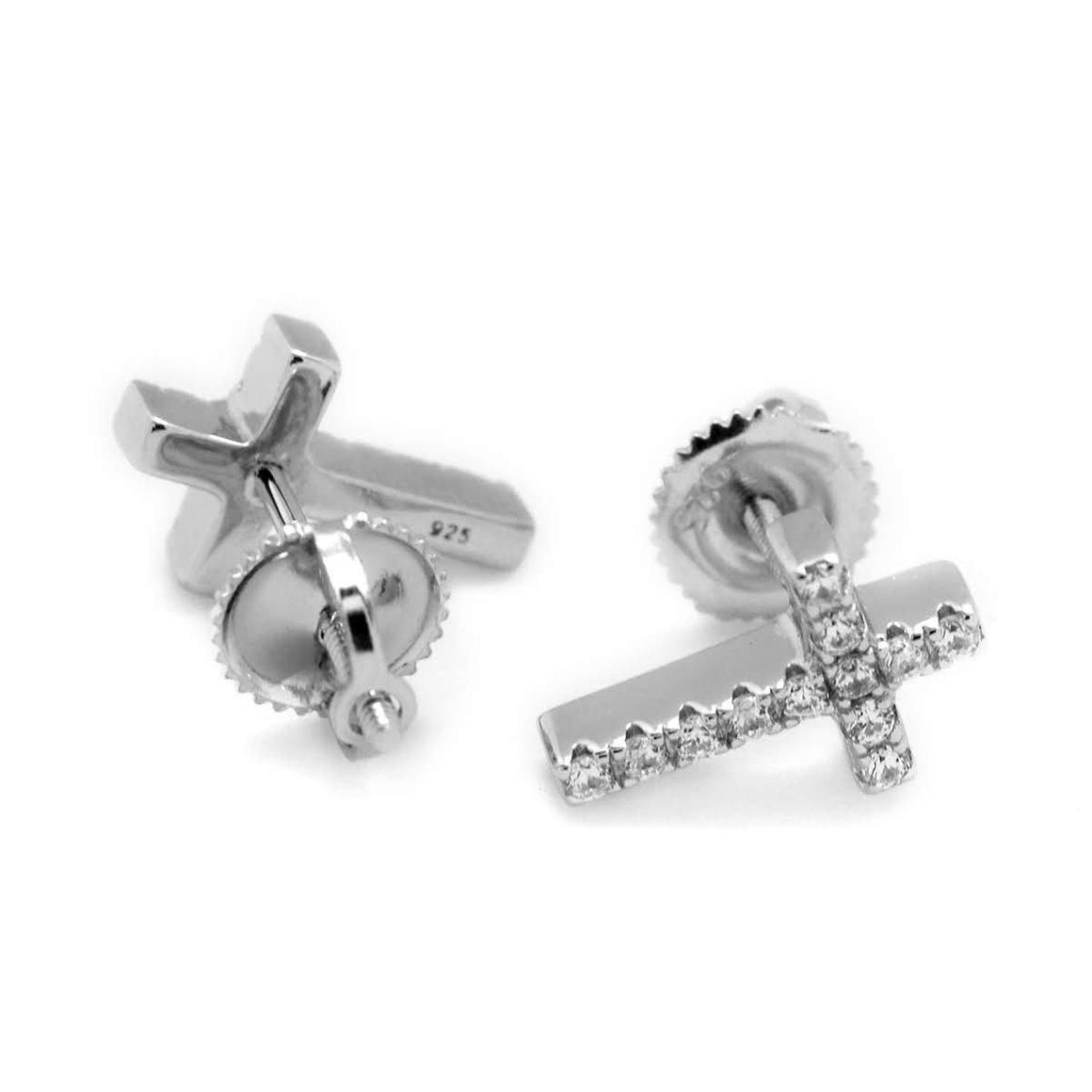 Sterling Silver Cross Micropave CZ Post Earrings - Atlanta Jewelers Supply