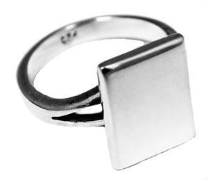 Sterling Silver Rectangle Engravable Rings With Split Band - Atlanta Jewelers Supply