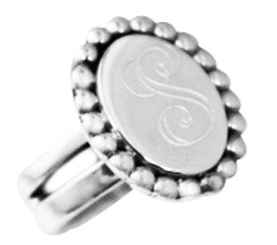 Sterling Silver Engravable Beaded Trim Designed Ring - Atlanta Jewelers Supply