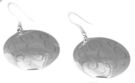 Engravable Round German Silver French Wire Earrings