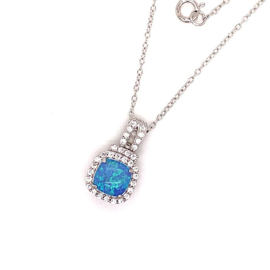 Sterling Silver Opal CZ Border Necklace - Atlanta Jewelers Supply