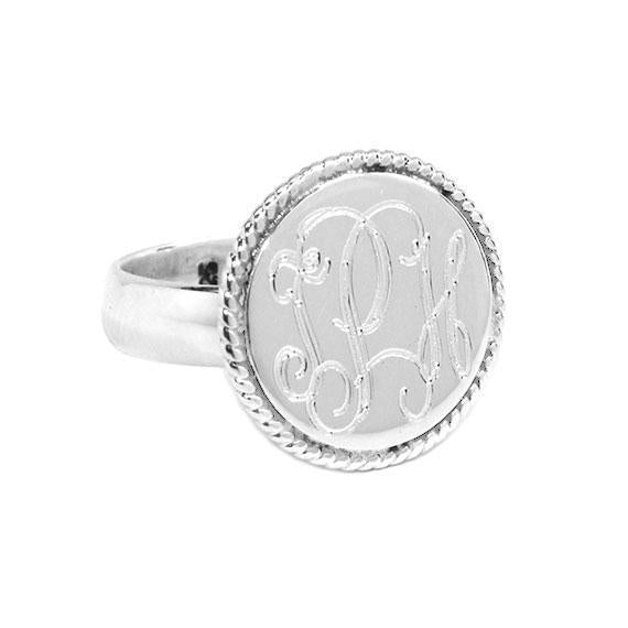Sterling Silver Round Engravable Ring With Braided Trim & Thick Band - Atlanta Jewelers Supply
