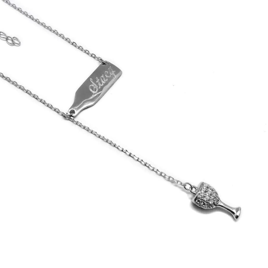 Sterling Silver Wine Drop Cz Necklace - Atlanta Jewelers Supply
