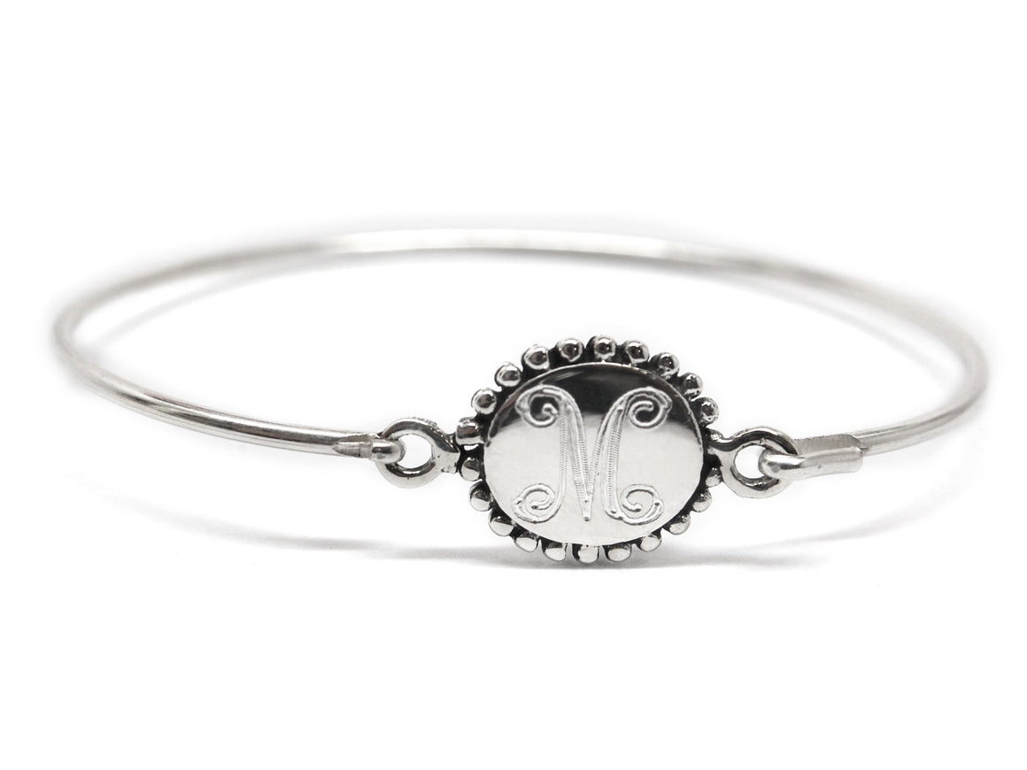 Sterling Silver Engravable Beaded Circle Disc Baby Bracelet - atlanta-jewelers-supply