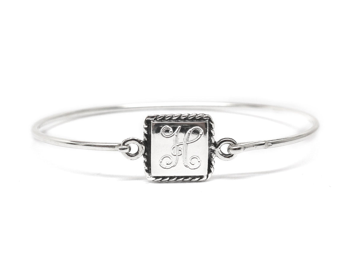 Sterling Silver Engravable Square Rope Disc Baby Bracelet - Atlanta Jewelers Supply
