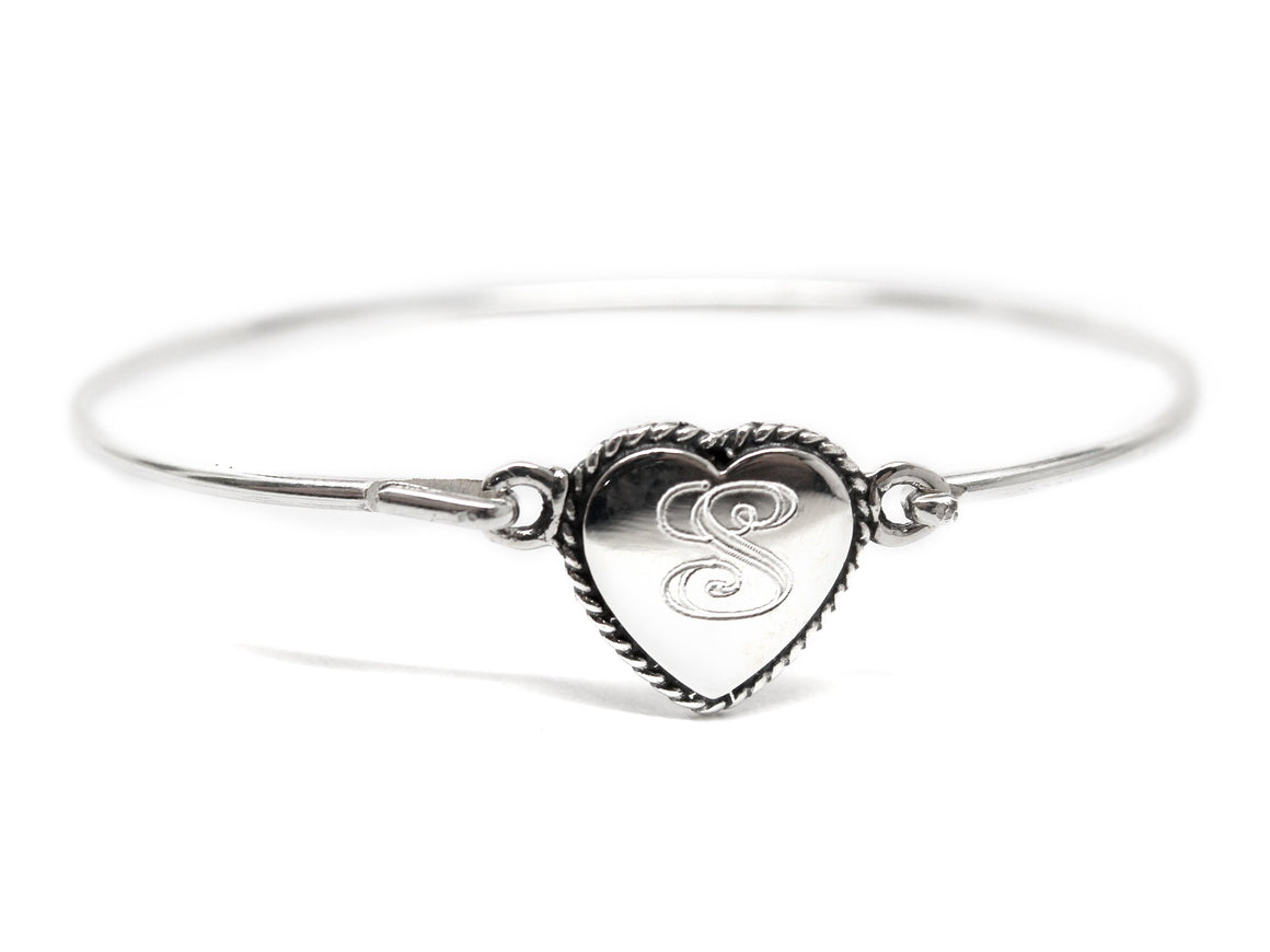 Sterling Silver Engravable Heart Rope Disc Baby Bracelet - atlanta-jewelers-supply