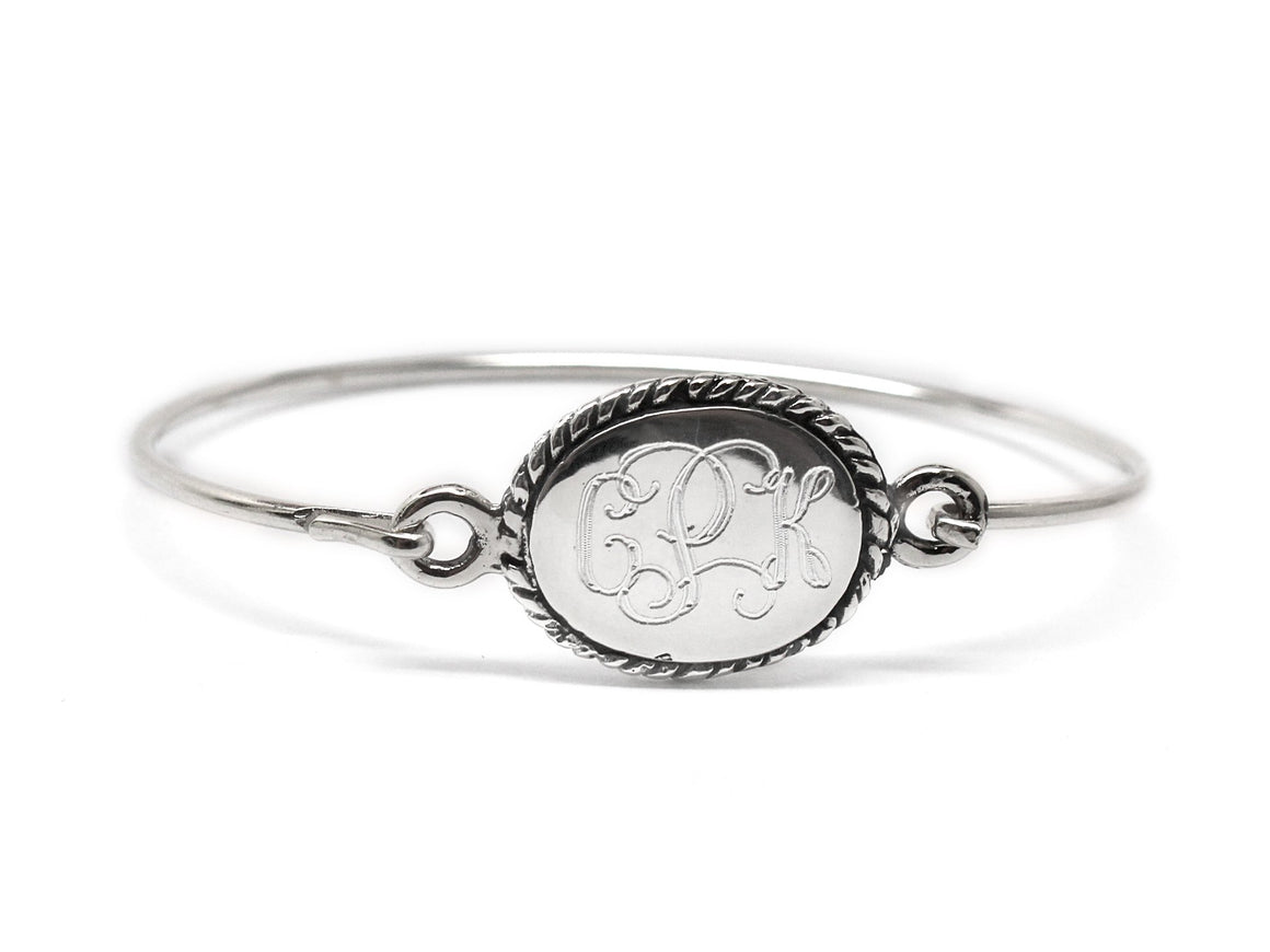 Sterling Silver Engravable Oval Rope Disc Baby Bracelet