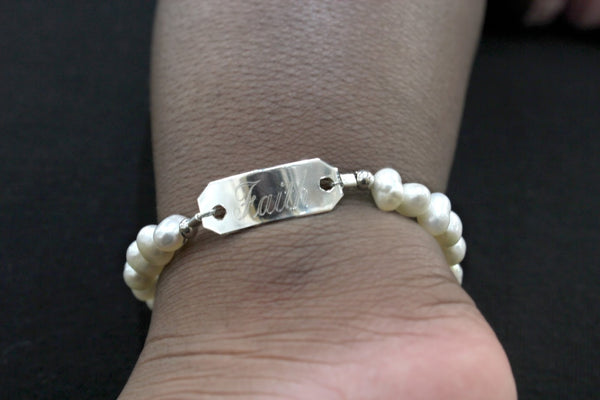 German Silver Baby Plate Pearl Bracelet - Atlanta Jewelers Supply
