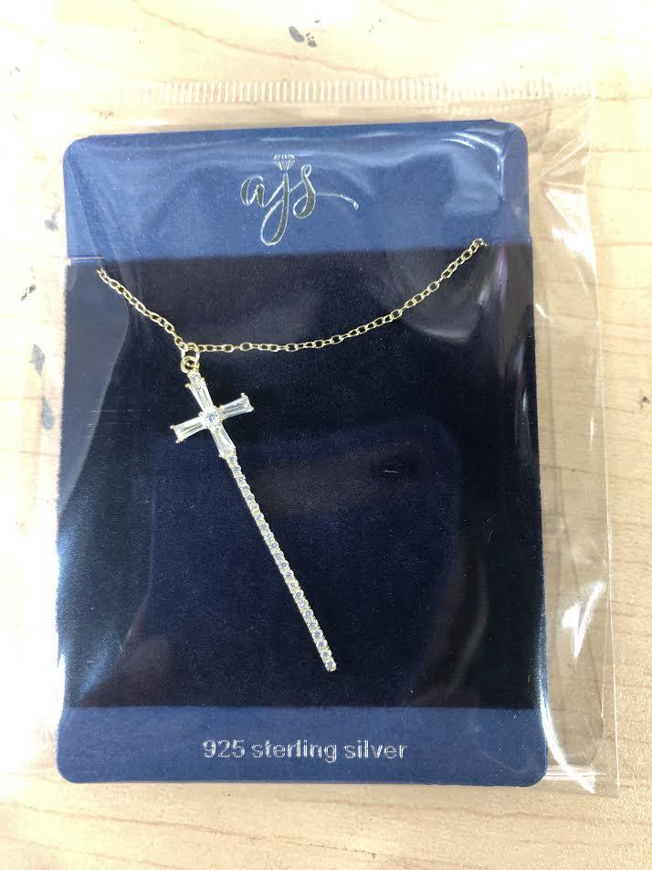 Sterling Silver Baguette CZ Cross Necklace atlanta-jewelers-supply.myshopify.com