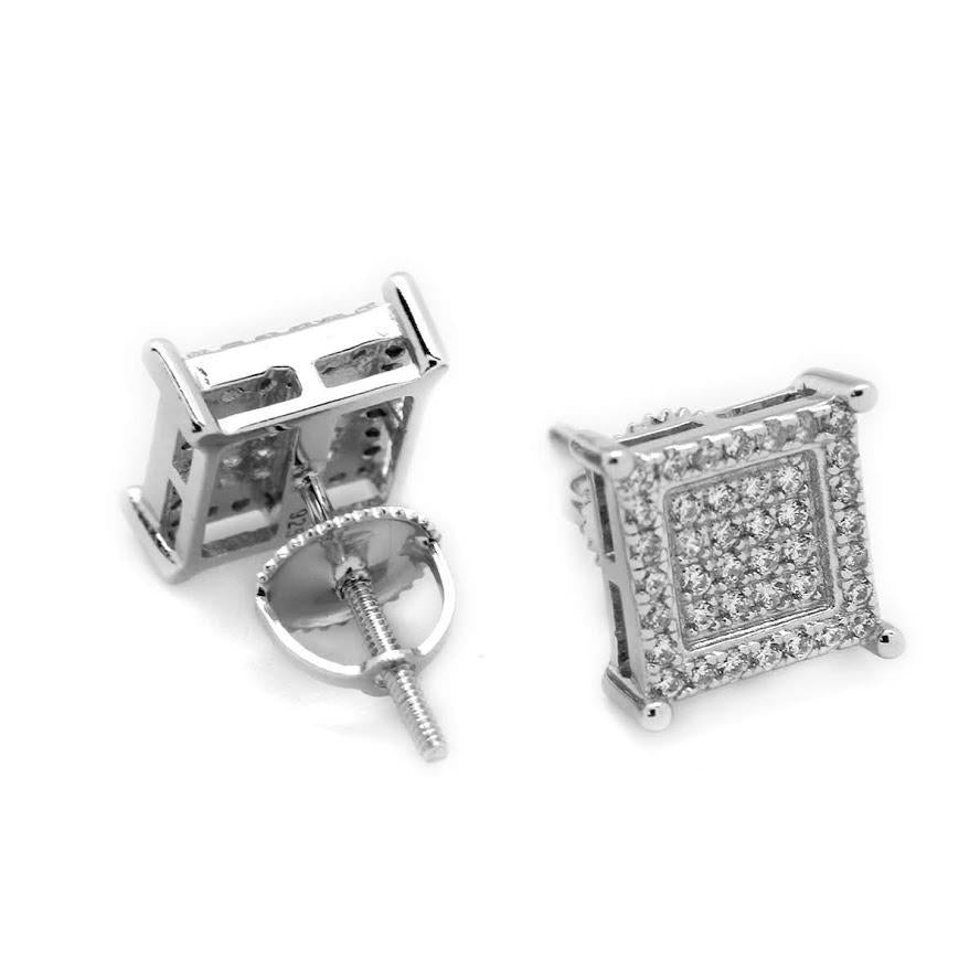 Sterling Silver Dazzling Square Post Earrings