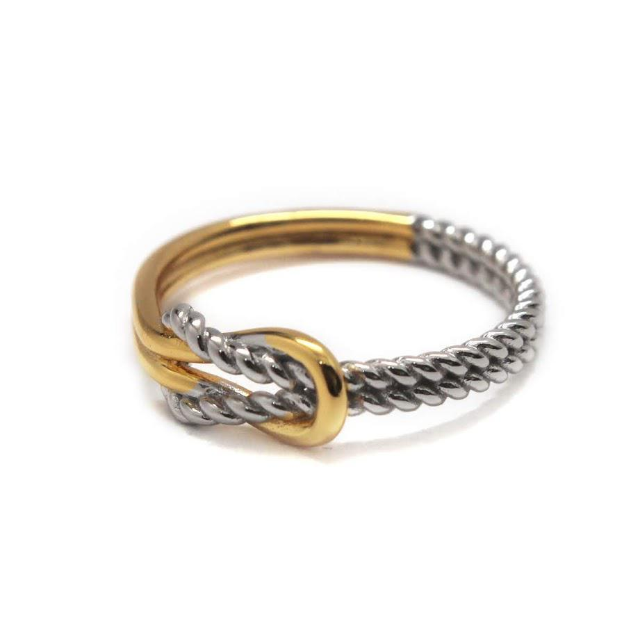 Elegant Engravable Arya Knot Rope Sterling Silver dual tone Ring atlanta-jewelers-supply.myshopify.com
