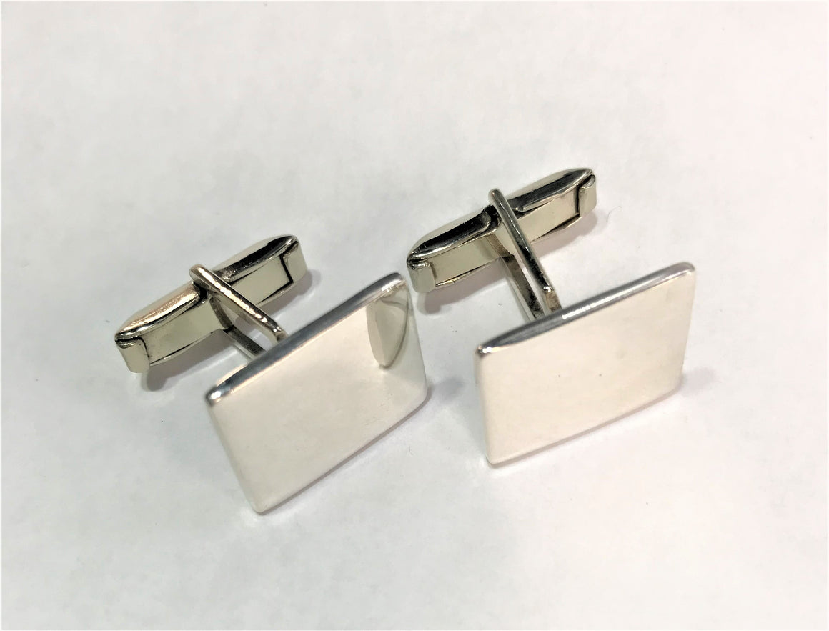 Sterling Silver Engravable Rectangle Cuff Links - atlanta-jewelers-supply