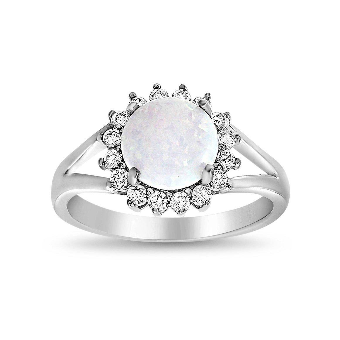 SILVER OPAL/CZ HALO RING - Atlanta Jewelers Supply