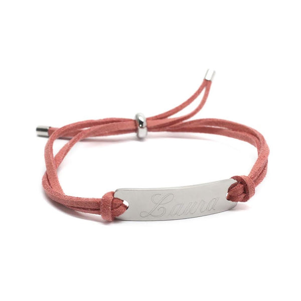 Trendy Suede Adjustable Engravable Stainless Steel Suede Bar Bracelet - Atlanta Jewelers Supply