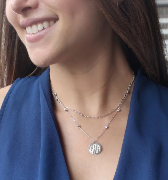 Sterling Silver Double Strand Diamond by the Yard Disc Necklace - Atlanta Jewelers Supply
