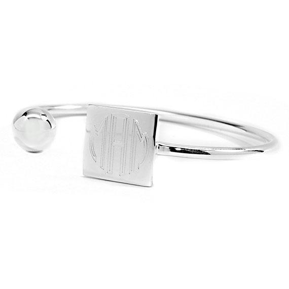Engravable Gold and Silver German Silver Ball And Square Disc Bracelet - Atlanta Jewelers Supply