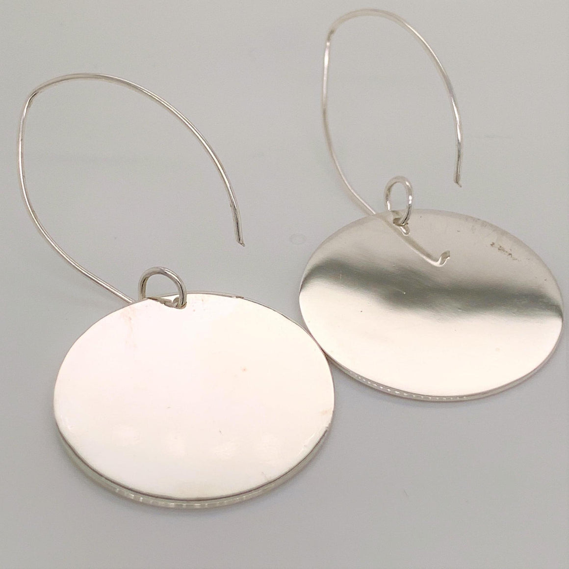 GERMAN SILVER ROUND ENGRAVABLE EARRINGS WITH LONG WIRE - Atlanta Jewelers Supply
