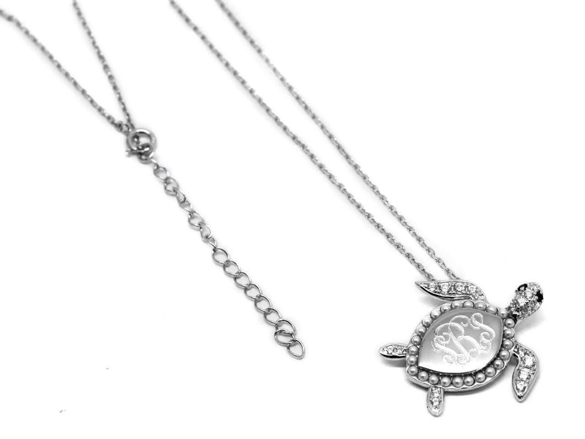 Elegant Engraved Sterling Silver Pearl and CZ Turtle Necklace