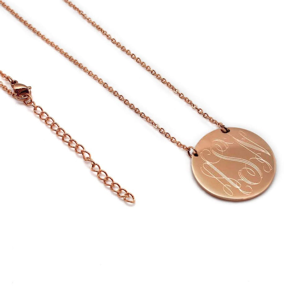 STAINLESS STEEL ENGRAVABLE ROUND NECKLACE