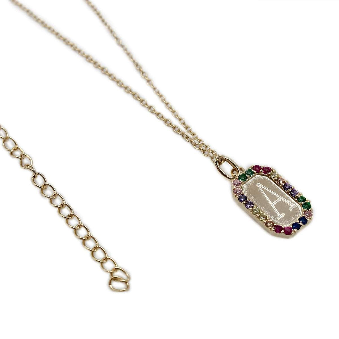 STERLING SILVER DESIGNER INSPIRED MULTICOLORED CZ ENGRAVABLE NECKLACE