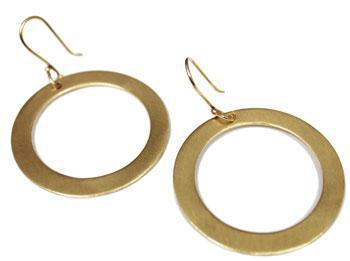German Silver Gold Brushed Circle Cut-Out Earrings - Atlanta Jewelers Supply