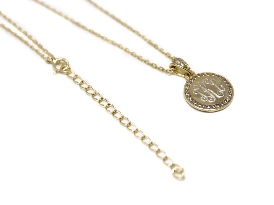 Sterling Silver Engravable Round Cz Pendant Necklaces & Attached Bail