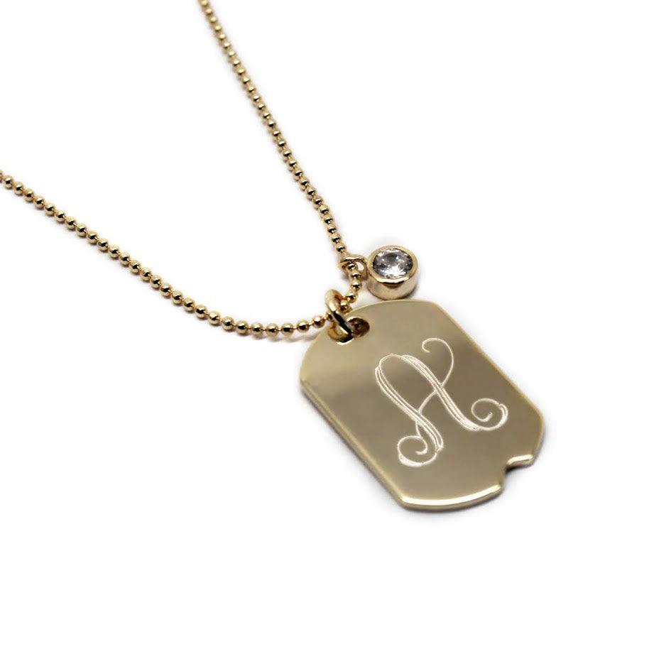 Sterling Silver 0.9'' X 0.6'' Dog Tag Necklace with the Cz Stone - Atlanta Jewelers Supply
