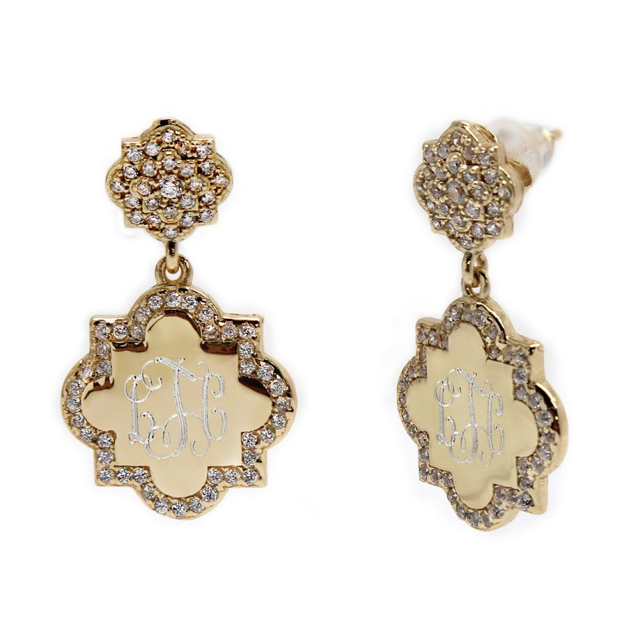 Sterling Silver Dangle Quatrefoil CZ Earring atlanta-jewelers-supply.myshopify.com