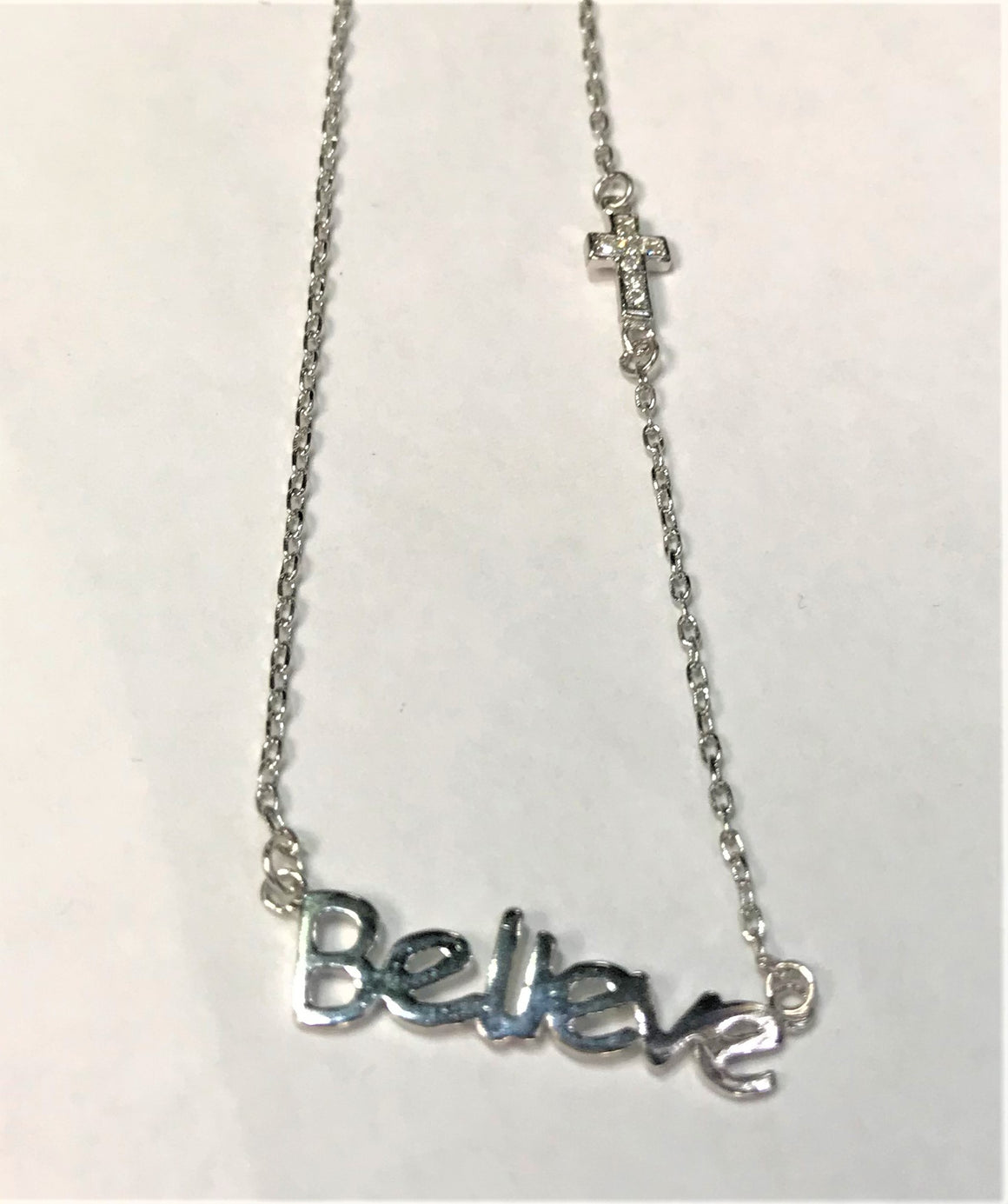 "Sterling Silver ""Belleve"" Necklace with Cross and Clear Cz Stone atlanta-jewelers-supply.myshopify.com"
