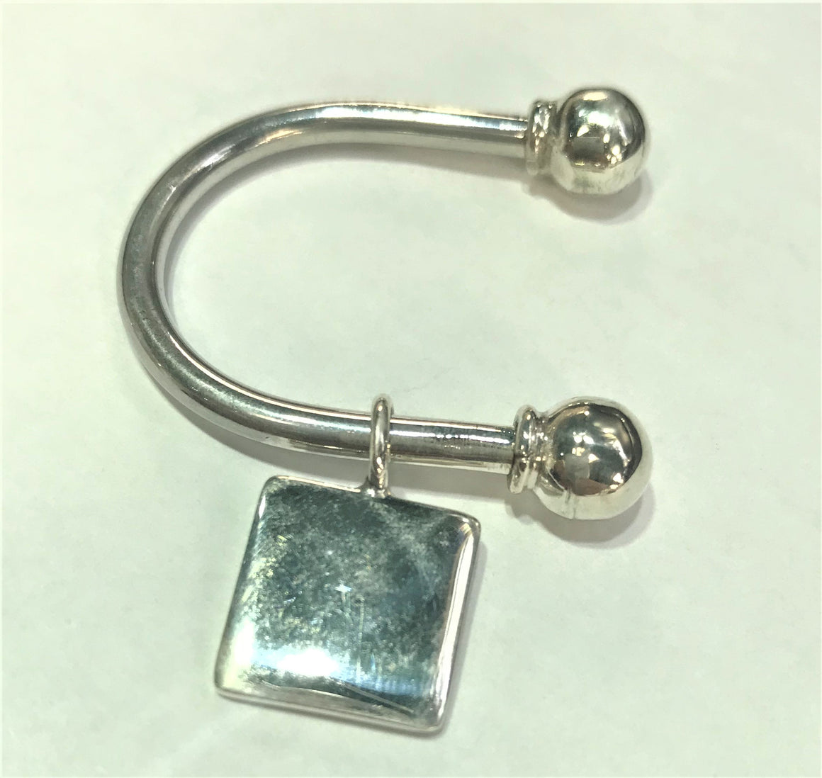 Sterling Silver Engravable Horse Shoe Square Keychain with Screw off Caps - atlanta-jewelers-supply