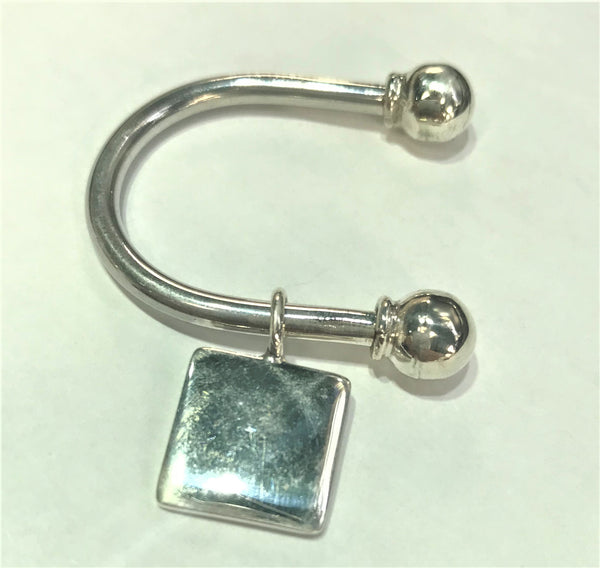 Sterling Silver Engravable Horse Shoe Square Keychain with Screw off Caps - Atlanta Jewelers Supply