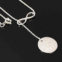 Sterling Silver Large Infinity Drop engraved Disc Necklace - Atlanta Jewelers Supply