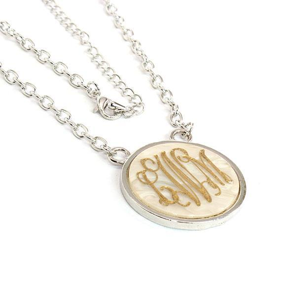 Trendy  Engravable Marble Necklace with Silver Color Chain - atlanta-jewelers-supply