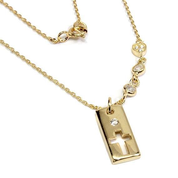 An Elegant Sterling Silver Gold 0.5 X 0.3 Rectangle Cross Necklace With Mounted Cz Stones - Atlanta Jewelers Supply