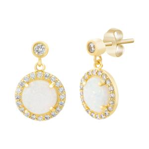 Sterling Silver Gold Plating Round White Opal Cz Border Post Earrings - Atlanta Jewelers Supply